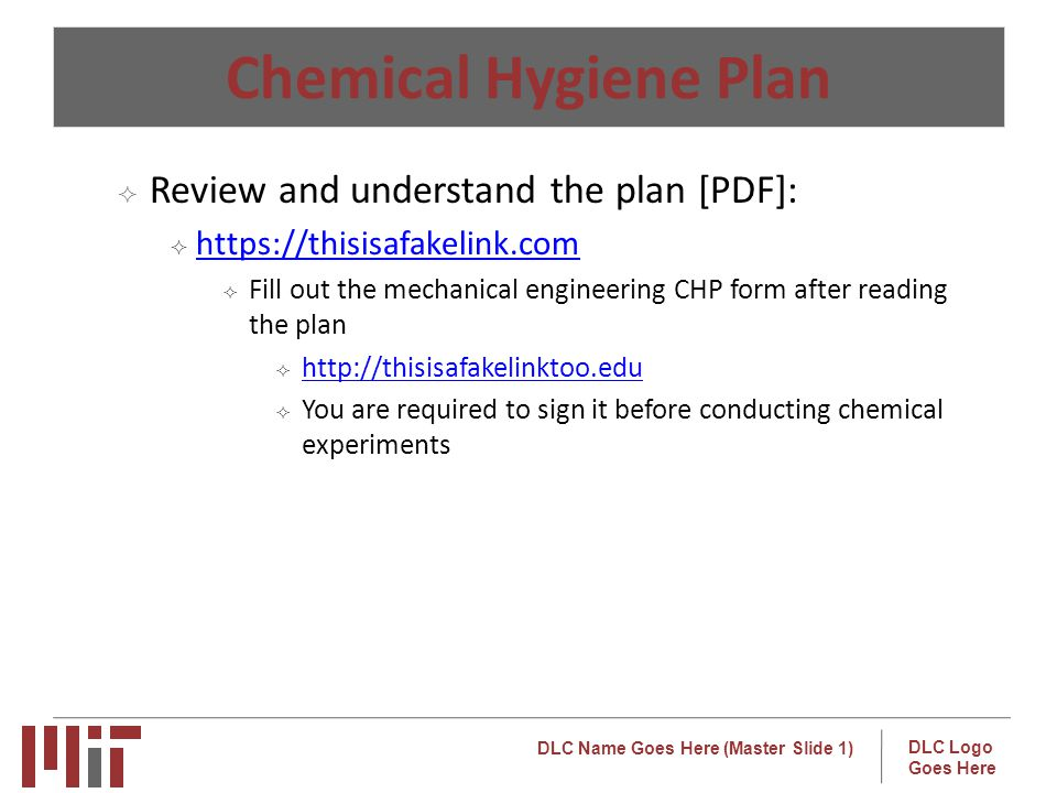 Chemical Hygiene Plan Review and understand the plan [PDF]: